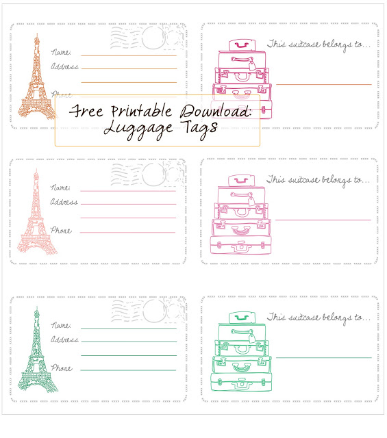 Free printable luggage tags in honor of design for Airline luggage tag template