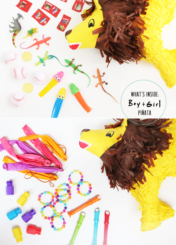 inside a boy + girl pinata