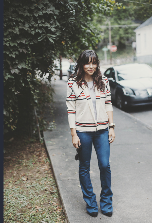 Varsity Sweater and Flare Jeans | IHOD