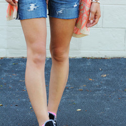 Distressed Denim Shorts DIY} IHOD