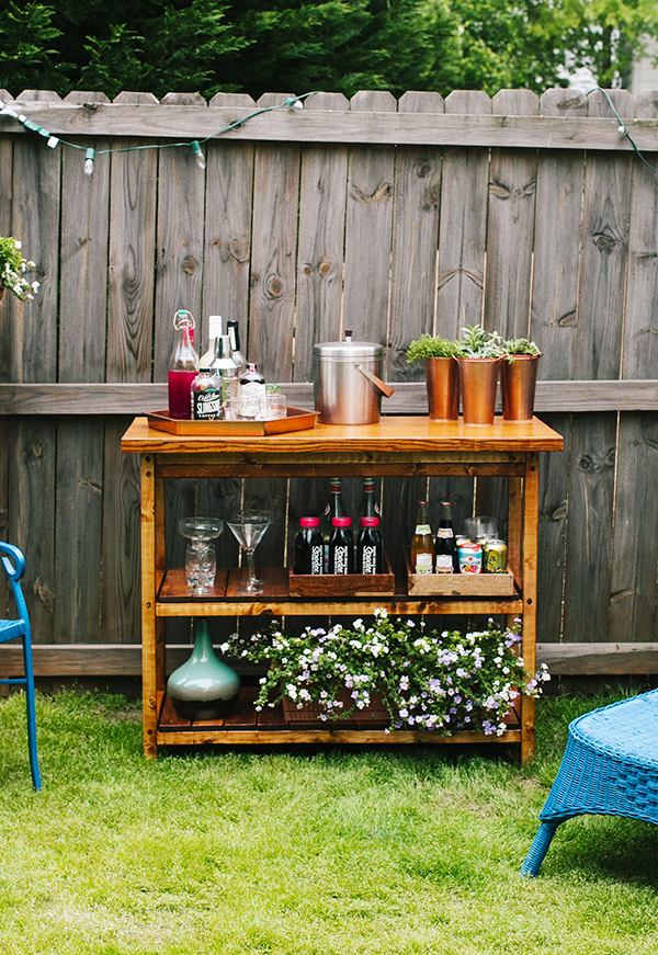 diy indoor outdoor bart cart table