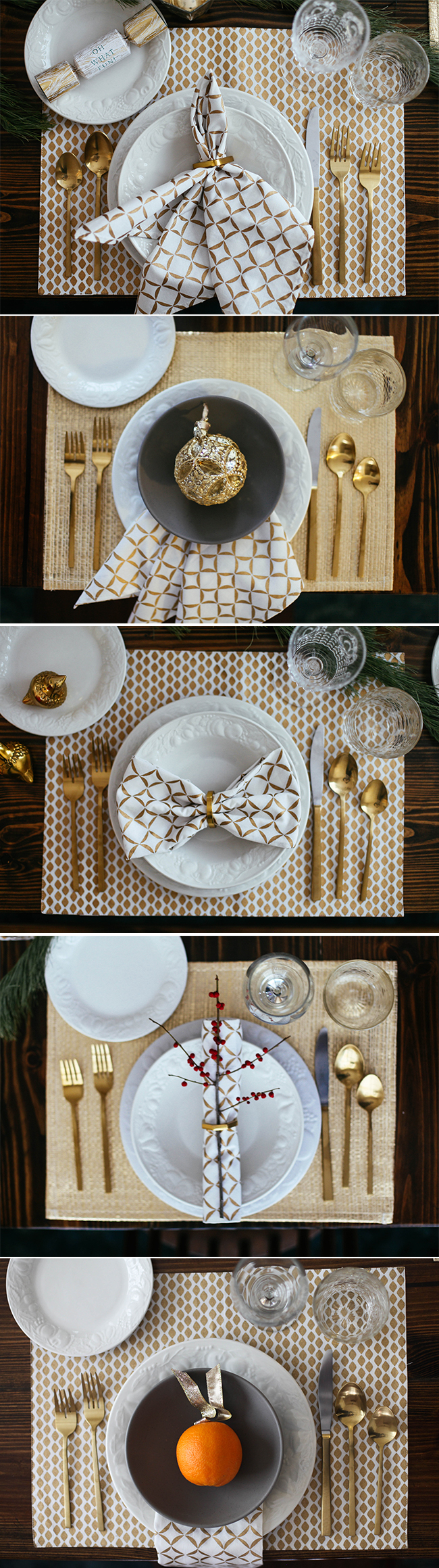 Christmas and new year table setting ideas in honor of Christmas place setting ideas