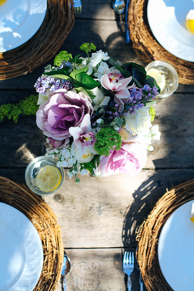 Outdoor floral centerpiece