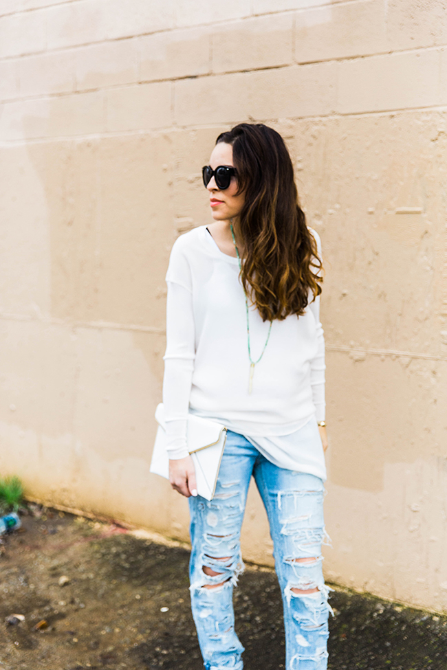 White + Destroyed denim