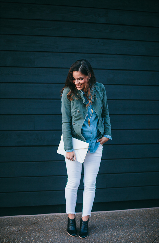denim, white, and army green via IHOD