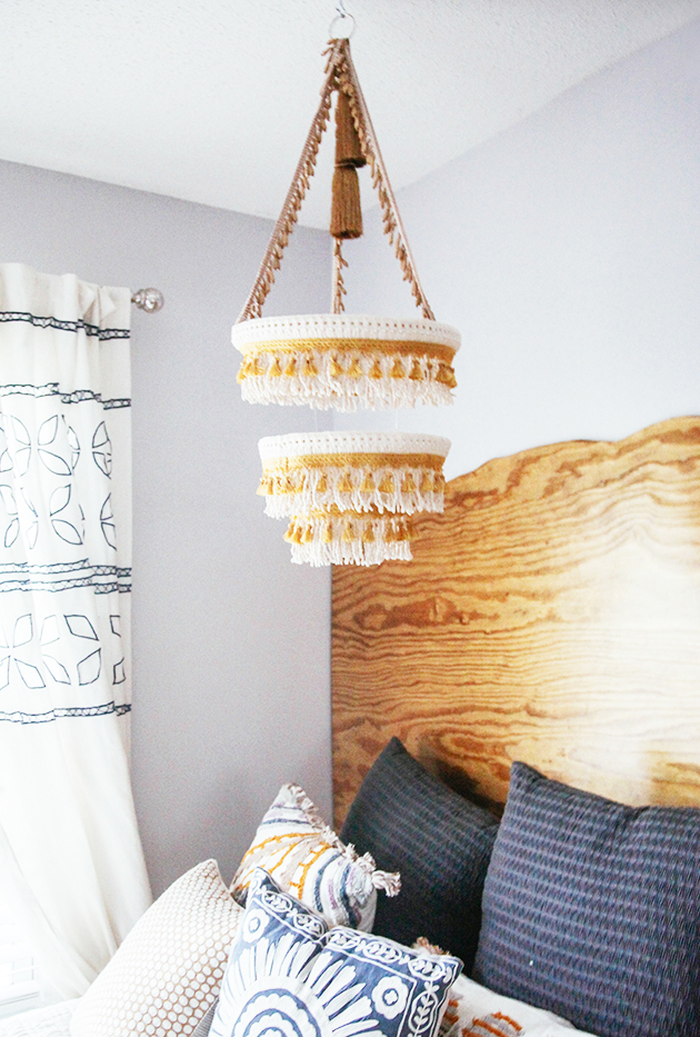 DIY Boho fringe chandelier | In Honor of Design