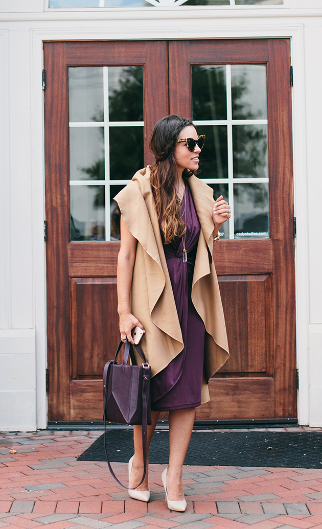 Marsala dress, camel cape
