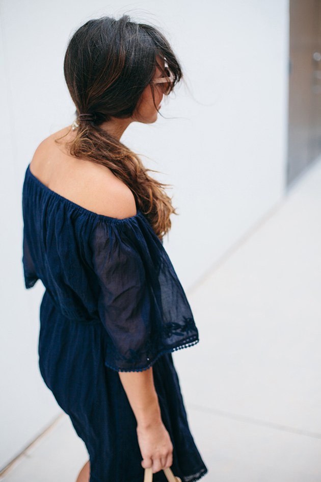 Navy off the shoulder dress