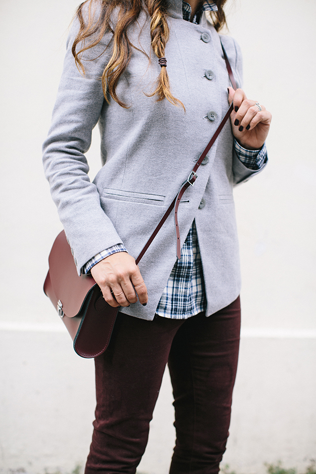 burgundy, plaid, grey