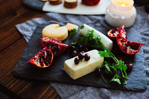 pomegranate, olives, and cheese