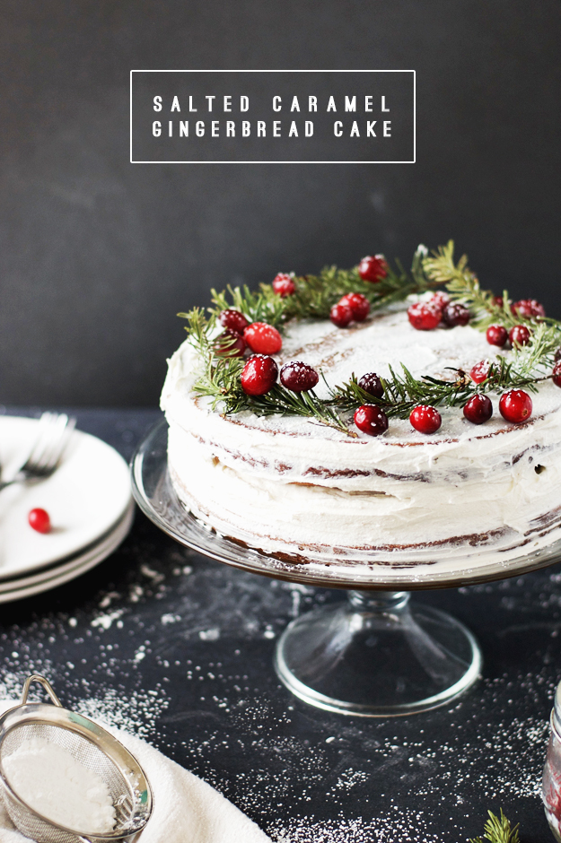 Salted Caramel Gingerbread Cake with Buttercream Frosting