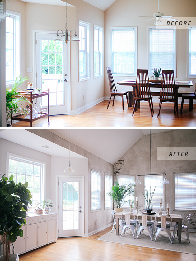 before and after dining room reveal