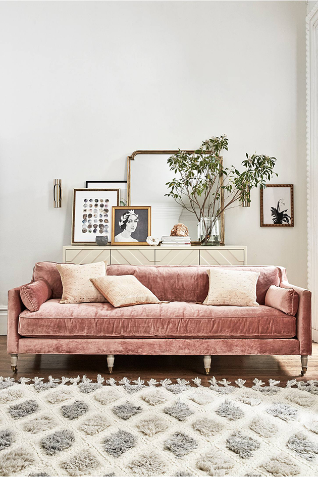 blush pink couch