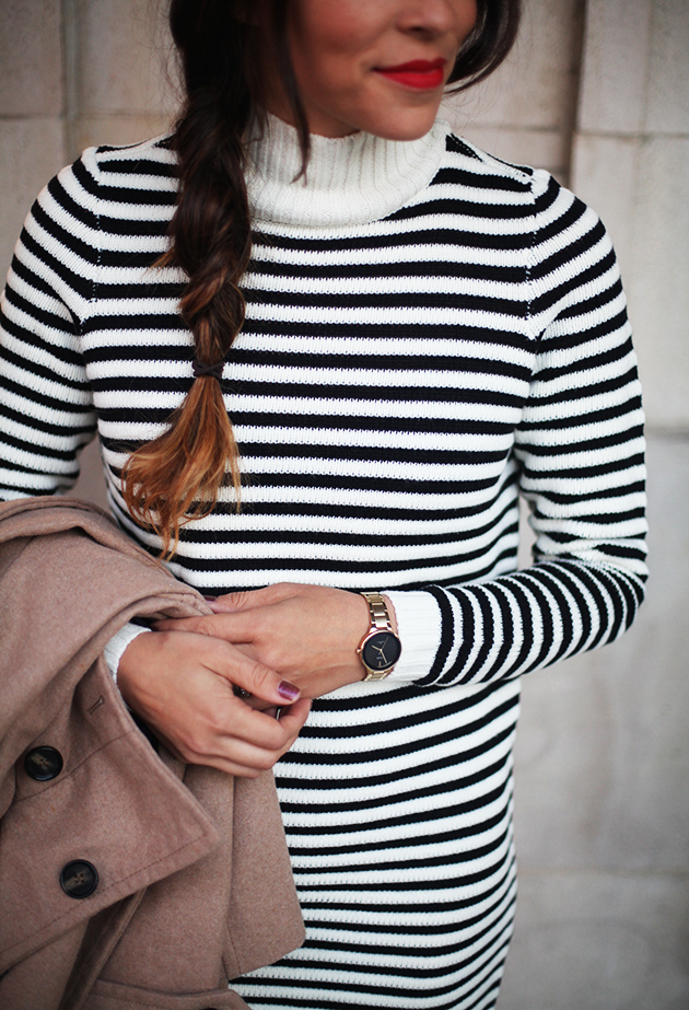 striped-sweater-dress-and-red-lip