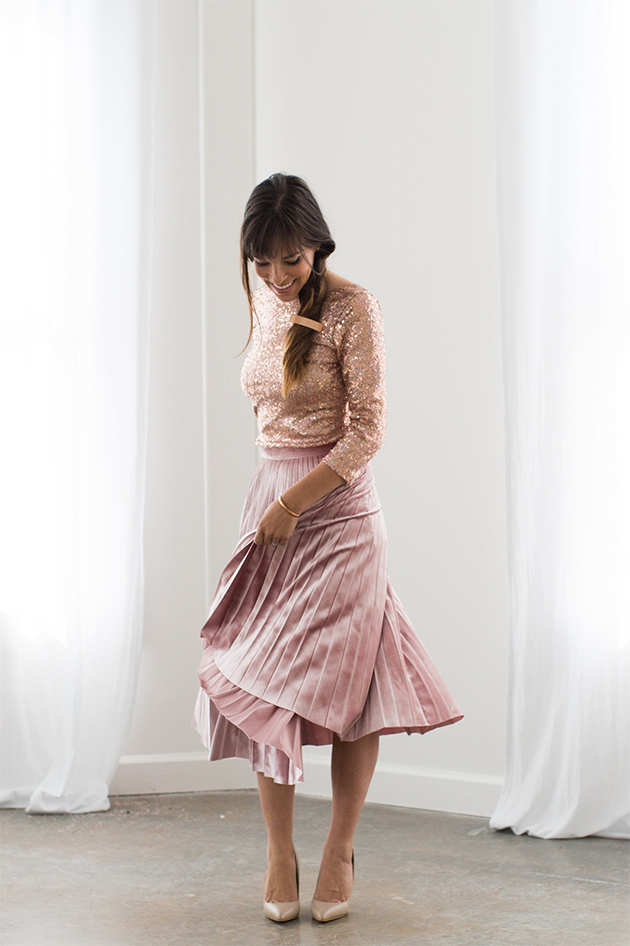 blush pink velvet skirt