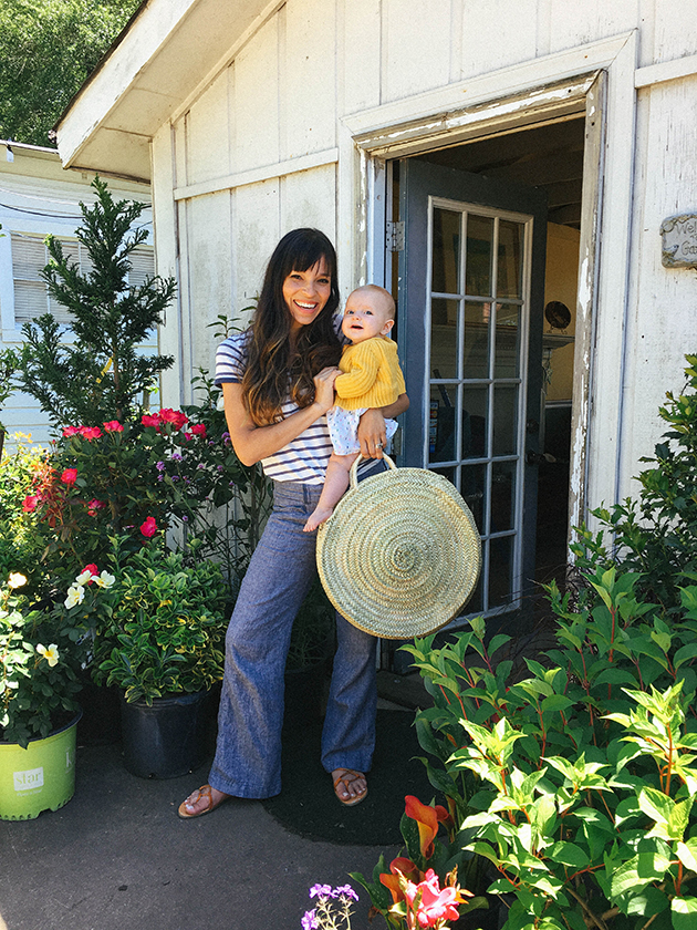 8aa3c67d07 Striped tee – Madewell // Linen wide leg pants (similar) // Tie up sandal –  (Similar) // Straw tote – Maewoven