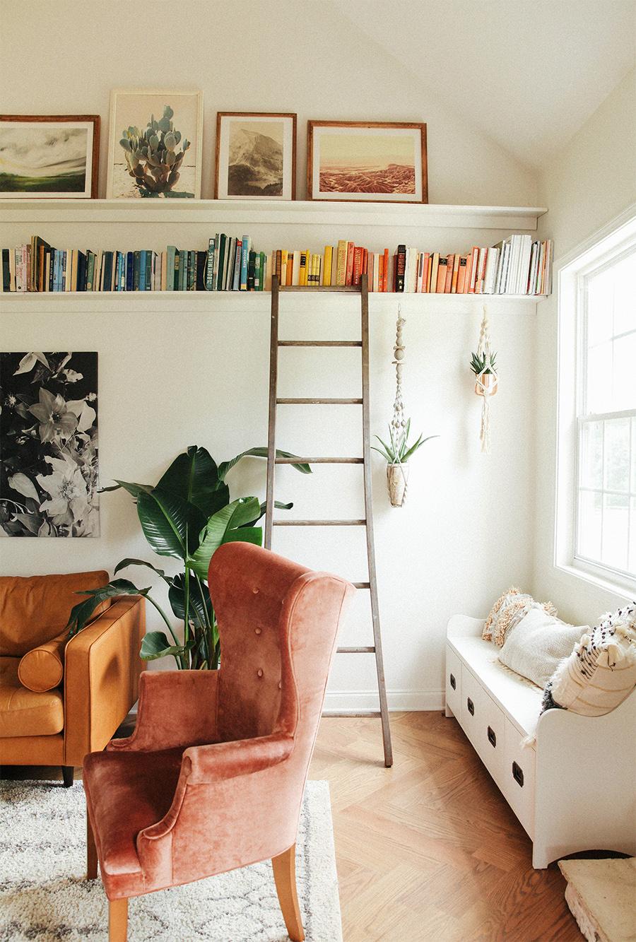 DIY picture ledge + bookshelf.   In Honor Of Design