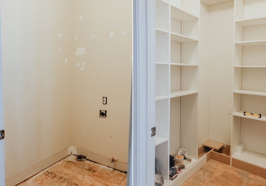 Laundry room to walk in pantry reveal in honor of design if you plan on doing built ins yourself we highly recommend adjustable shelves so that you can create the height between shelves you need solutioingenieria Choice Image