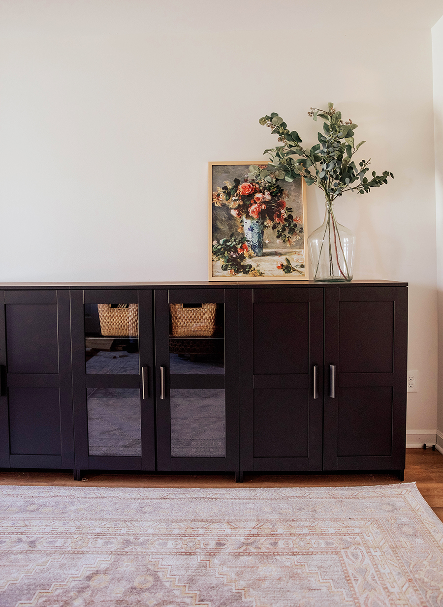 Playroom/Toy Storage: IKEA Brimnes Cabinets  In Honor Of Design