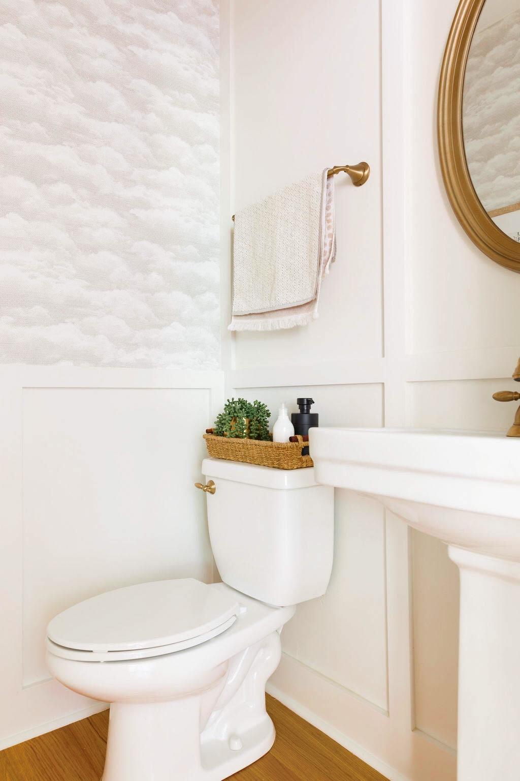bathroom makeover, cloud wallpaper