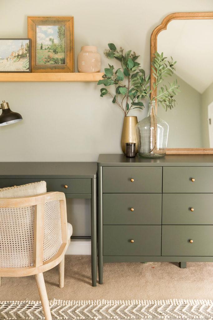 guest bedroom design - olive green dresser - In Honor of Design