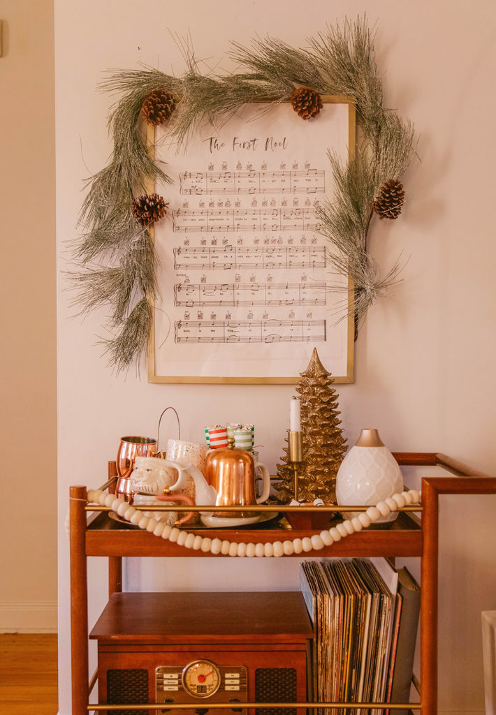 Christmas decor -bar cart