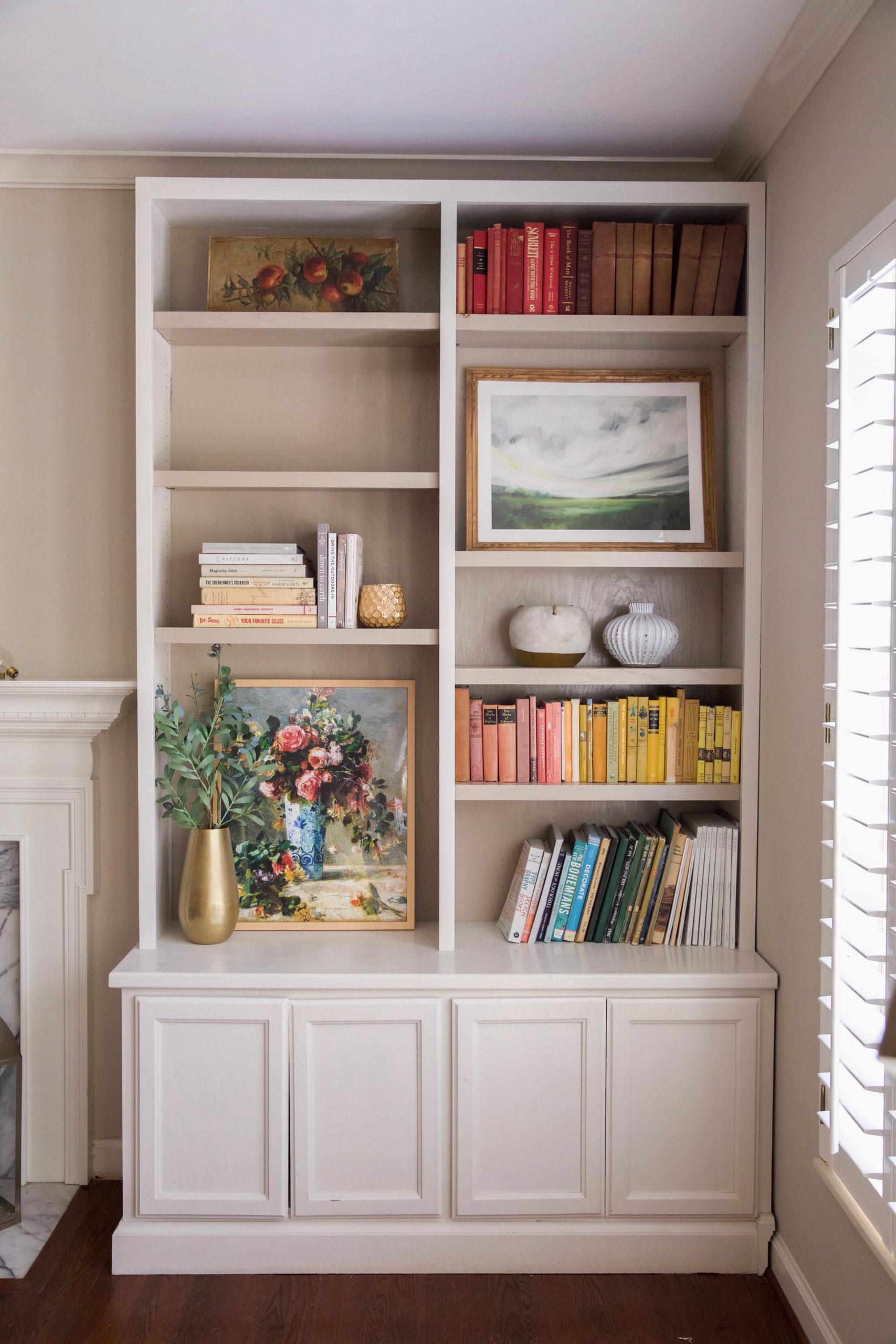 styling bookshelves - vintage books