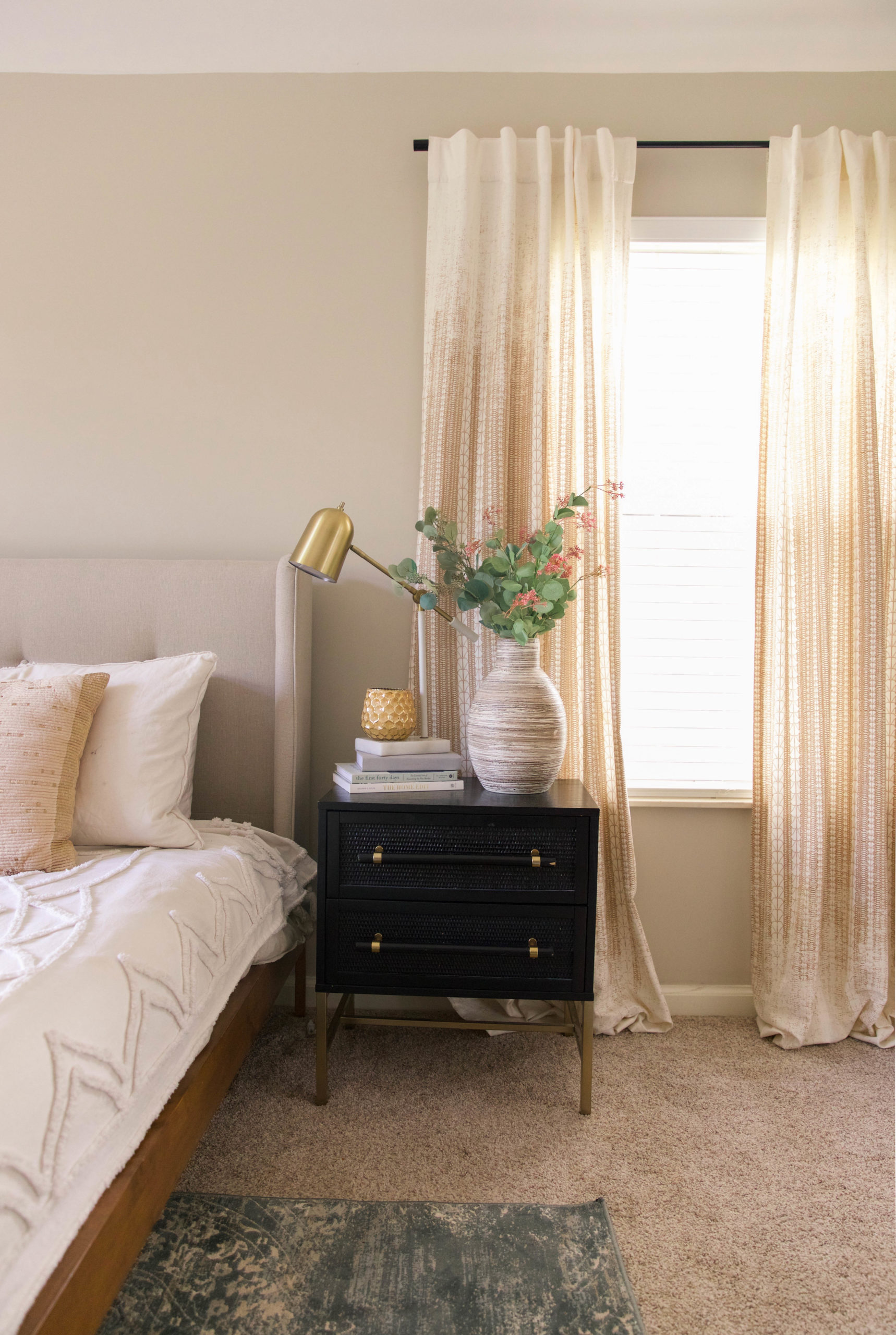 master bedroom design - nightstand- curtains