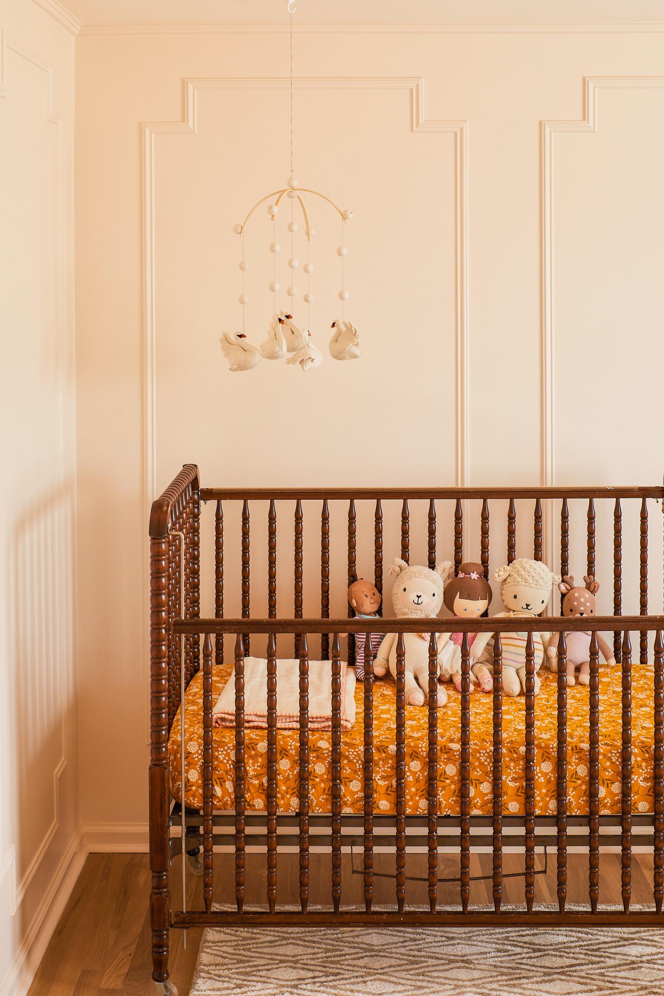vintage jenny lind crib, nursery design