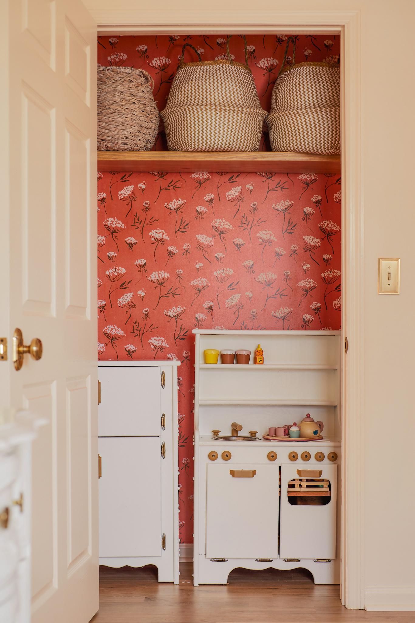 Wooden kitchen play set closet wallpaper
